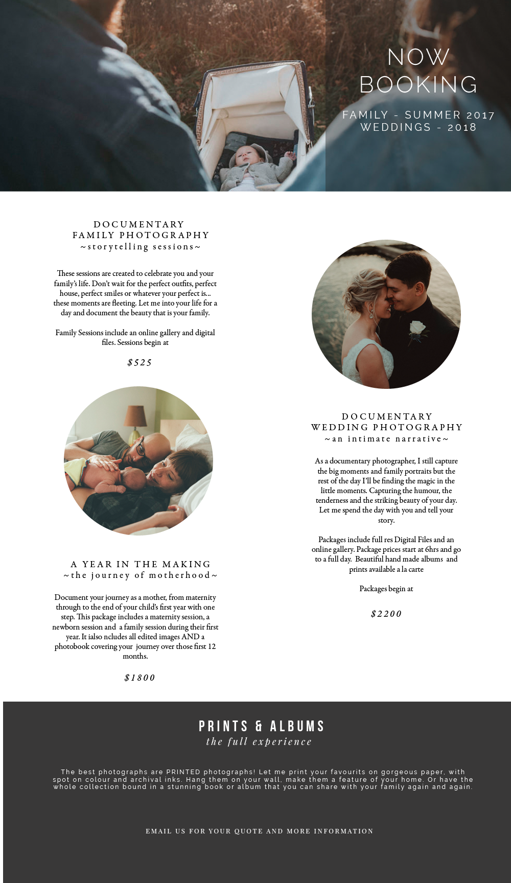 Pricing for family and wedding photography