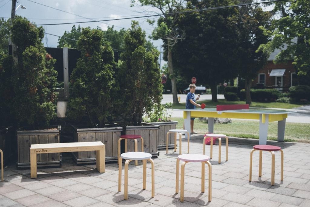 Pom Pom ice cream hut's patio area.