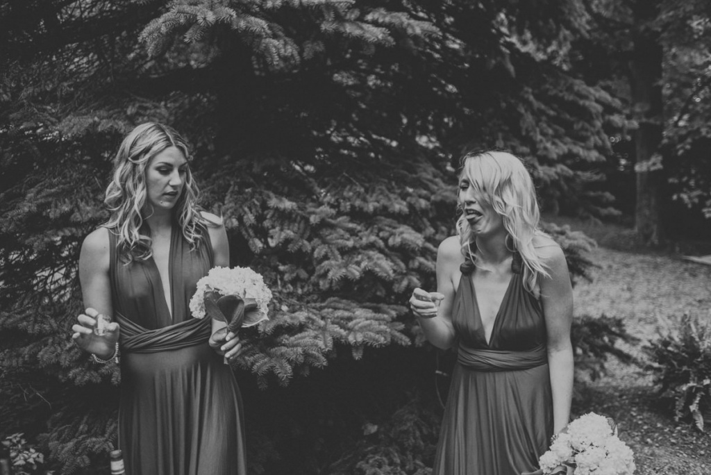 bridesmaids making funny faces at cottage wedding in Eugenia.