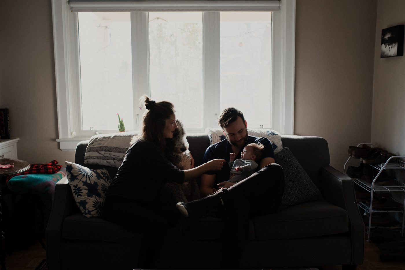 newborn family session, toronto. Family on couch